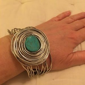 Jewelry - Artful turquoise and silver statement bangle.